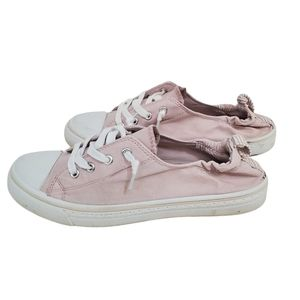 Maurices Pink & White Slip On Sneakers